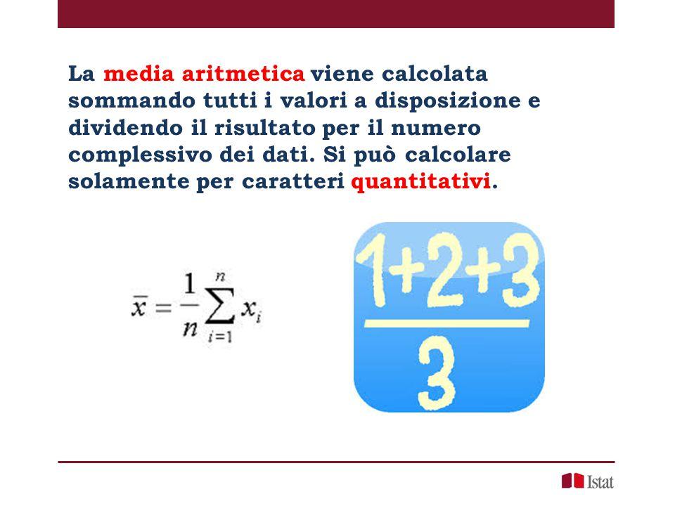 La media aritmetica viene calcolata sommando tutti i valori a disposizione e dividendo il risultato per il numero complessivo dei dati. Si può calcola