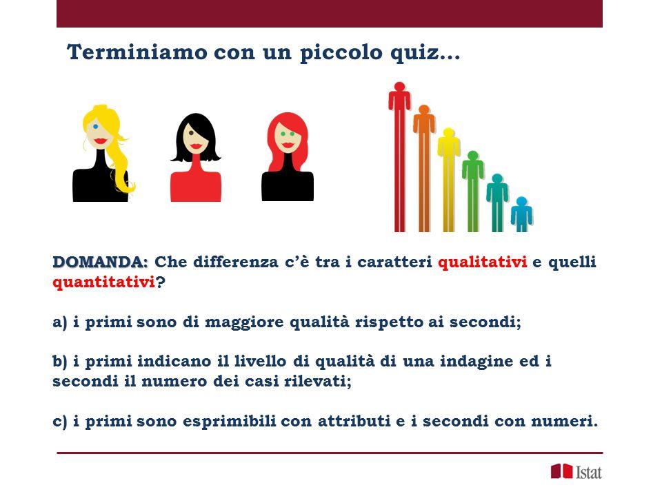 DOMANDA: DOMANDA: Che differenza c'è tra i caratteri qualitativi e quelli quantitativi? a) i primi sono di maggiore qualità rispetto ai secondi; b) i