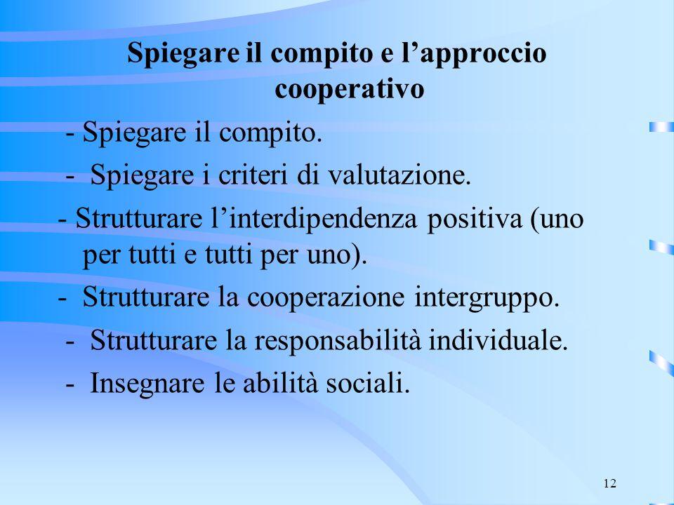 12 Spiegare il compito e l'approccio cooperativo - Spiegare il compito. - Spiegare i criteri di valutazione. - Strutturare l'interdipendenza positiva