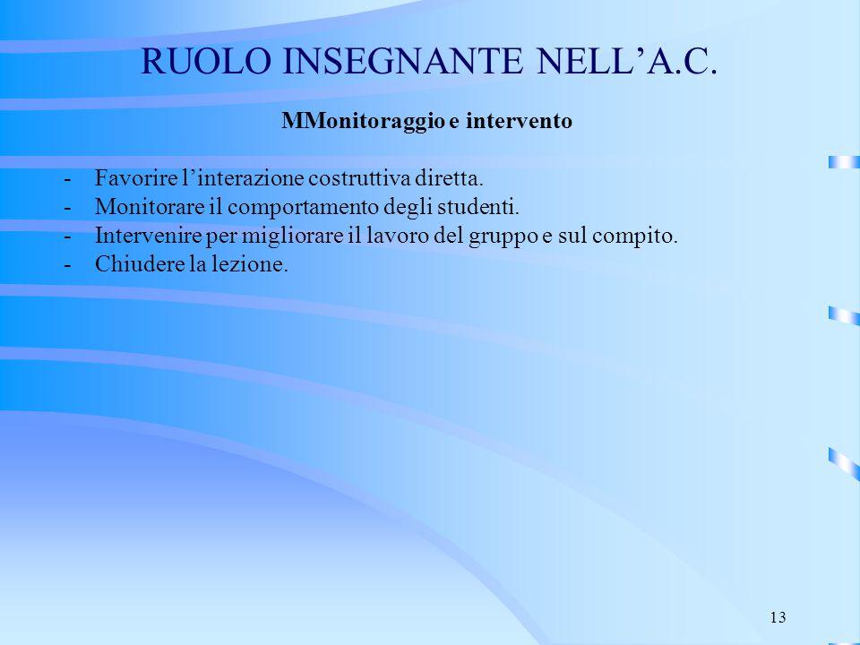 13 RUOLO INSEGNANTE NELL'A.C. MMonitoraggio e intervento - Favorire l'interazione costruttiva diretta. - Monitorare il comportamento degli studenti. -