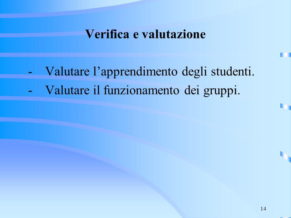 14 Verifica e valutazione - Valutare l'apprendimento degli studenti. - Valutare il funzionamento dei gruppi.