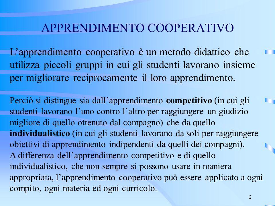 2 APPRENDIMENTO COOPERATIVO L'apprendimento cooperativo è un metodo didattico che utilizza piccoli gruppi in cui gli studenti lavorano insieme per mig