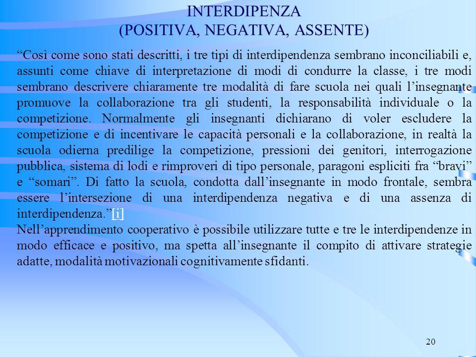 """20 INTERDIPENZA (POSITIVA, NEGATIVA, ASSENTE) """"Così come sono stati descritti, i tre tipi di interdipendenza sembrano inconciliabili e, assunti come c"""