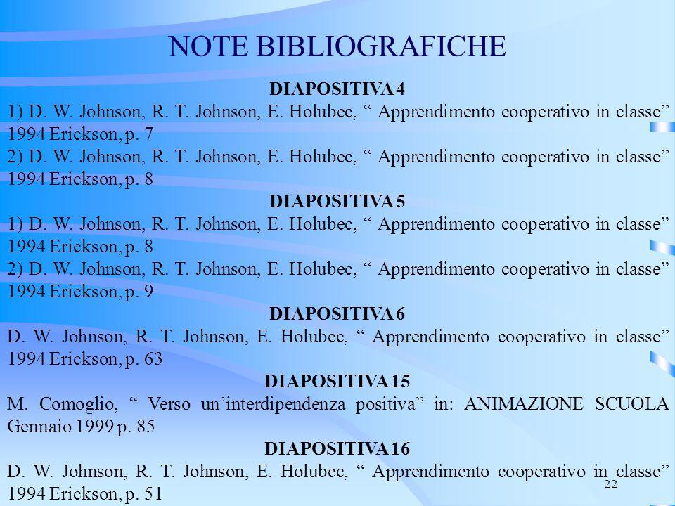"""22 NOTE BIBLIOGRAFICHE DIAPOSITIVA 4 1) D. W. Johnson, R. T. Johnson, E. Holubec, """" Apprendimento cooperativo in classe"""" 1994 Erickson, p. 7 2) D. W."""