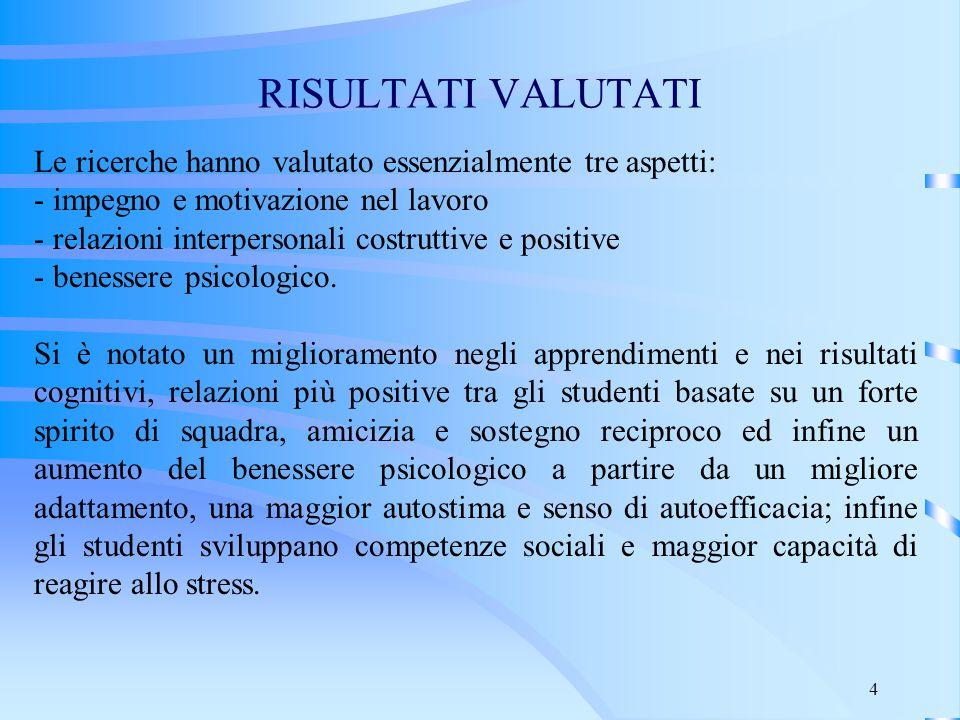 4 RISULTATI VALUTATI Le ricerche hanno valutato essenzialmente tre aspetti: - impegno e motivazione nel lavoro - relazioni interpersonali costruttive