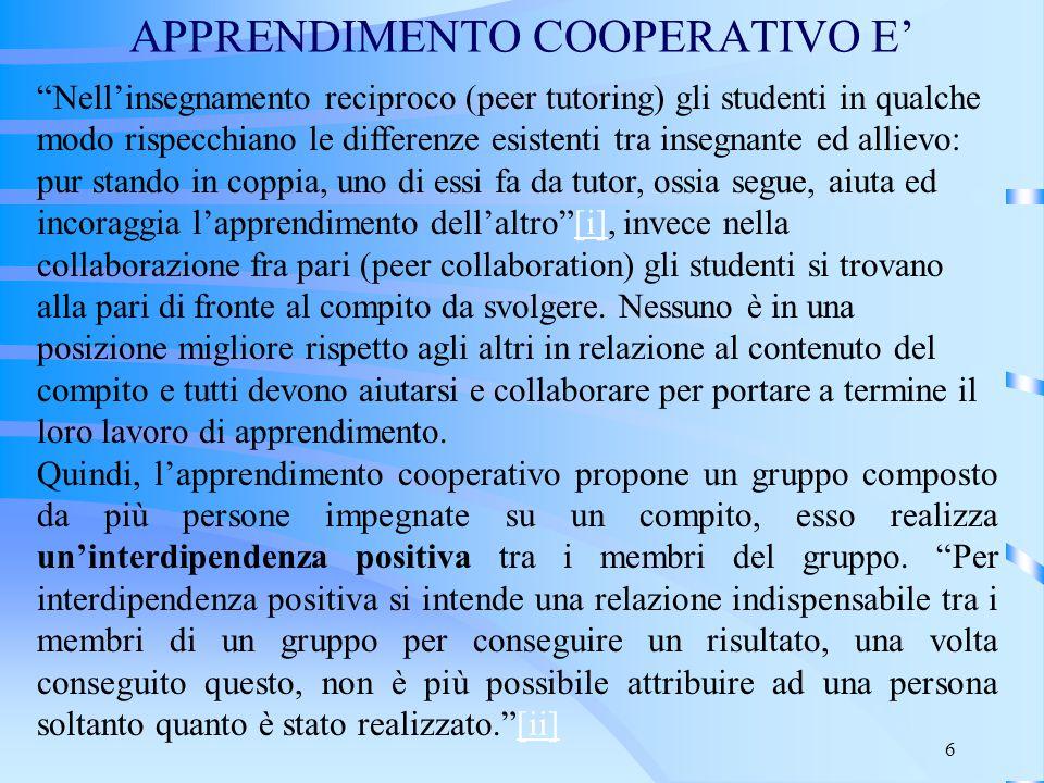 """6 APPRENDIMENTO COOPERATIVO E' """"Nell'insegnamento reciproco (peer tutoring) gli studenti in qualche modo rispecchiano le differenze esistenti tra inse"""