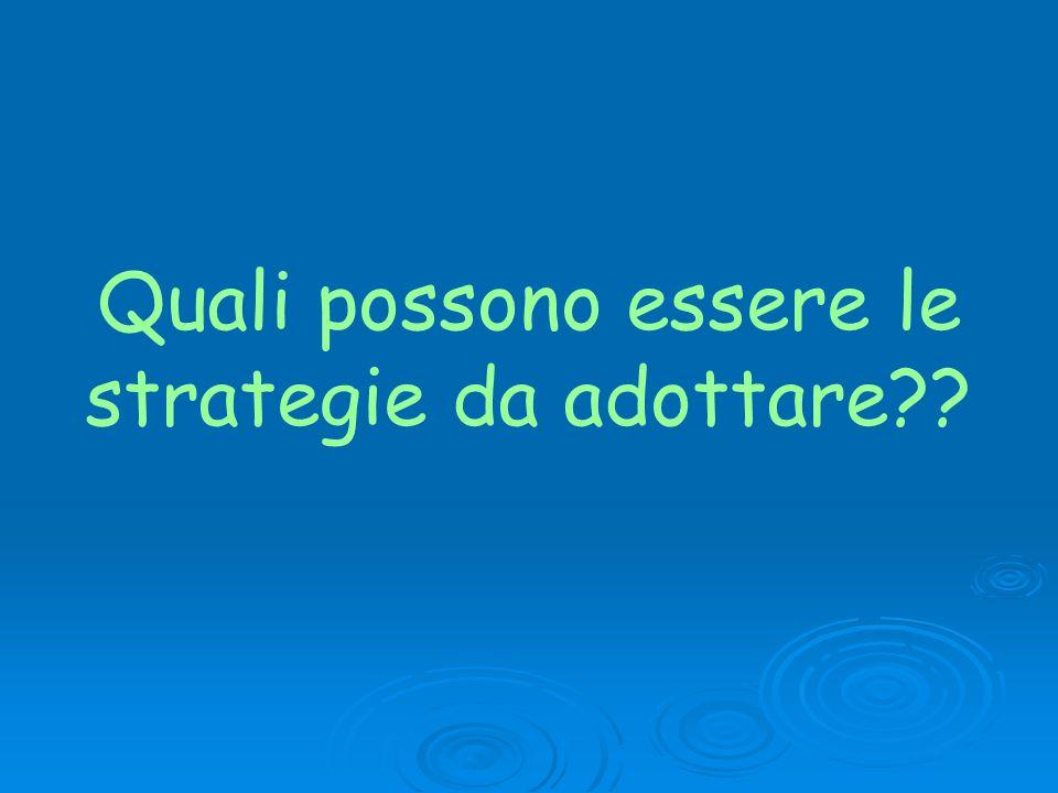 Quali possono essere le strategie da adottare??