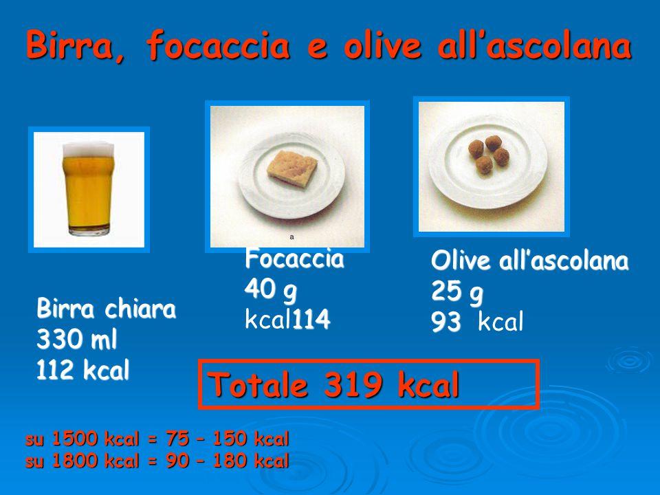 Birra, focaccia e olive all'ascolana Birra chiara 330 ml 112 kcal Focaccia 40 g 114 kcal114 Olive all'ascolana 25 g 93 93 kcal Totale 319 kcal su 1500 kcal = 75 – 150 kcal su 1800 kcal = 90 – 180 kcal