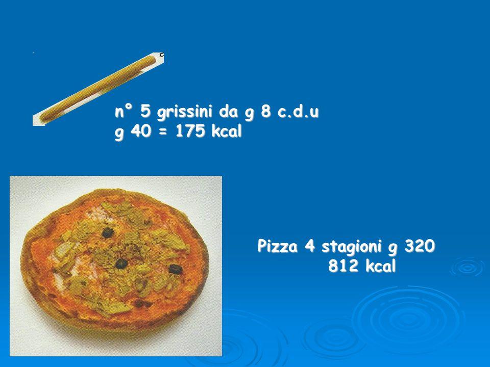 n° 5 grissini da g 8 c.d.u g 40 = 175 kcal Pizza 4 stagioni g 320 812 kcal 812 kcal