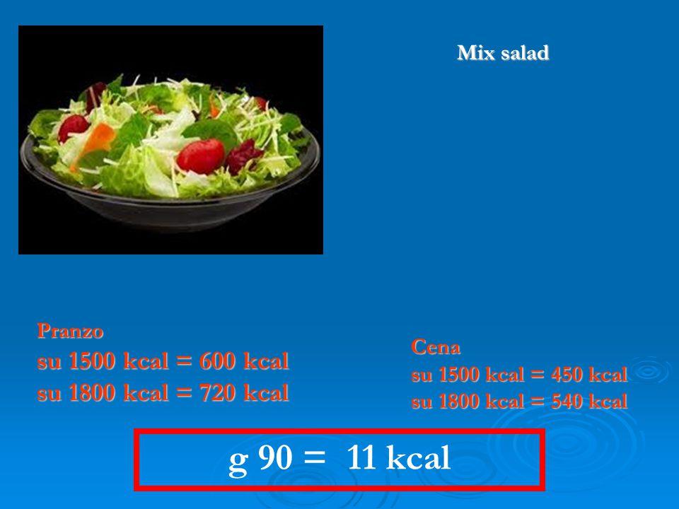 g 90 = 11 kcal Pranzo su 1500 kcal = 600 kcal su 1800 kcal = 720 kcal Cena su 1500 kcal = 450 kcal su 1800 kcal = 540 kcal Mix salad