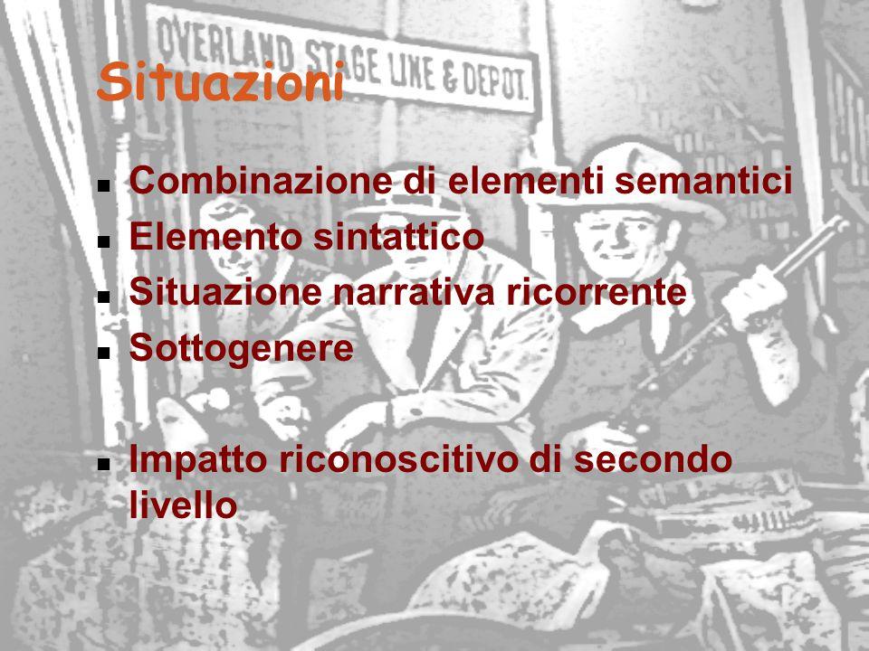 Situazioni Combinazione di elementi semantici Elemento sintattico Situazione narrativa ricorrente Sottogenere Impatto riconoscitivo di secondo livello