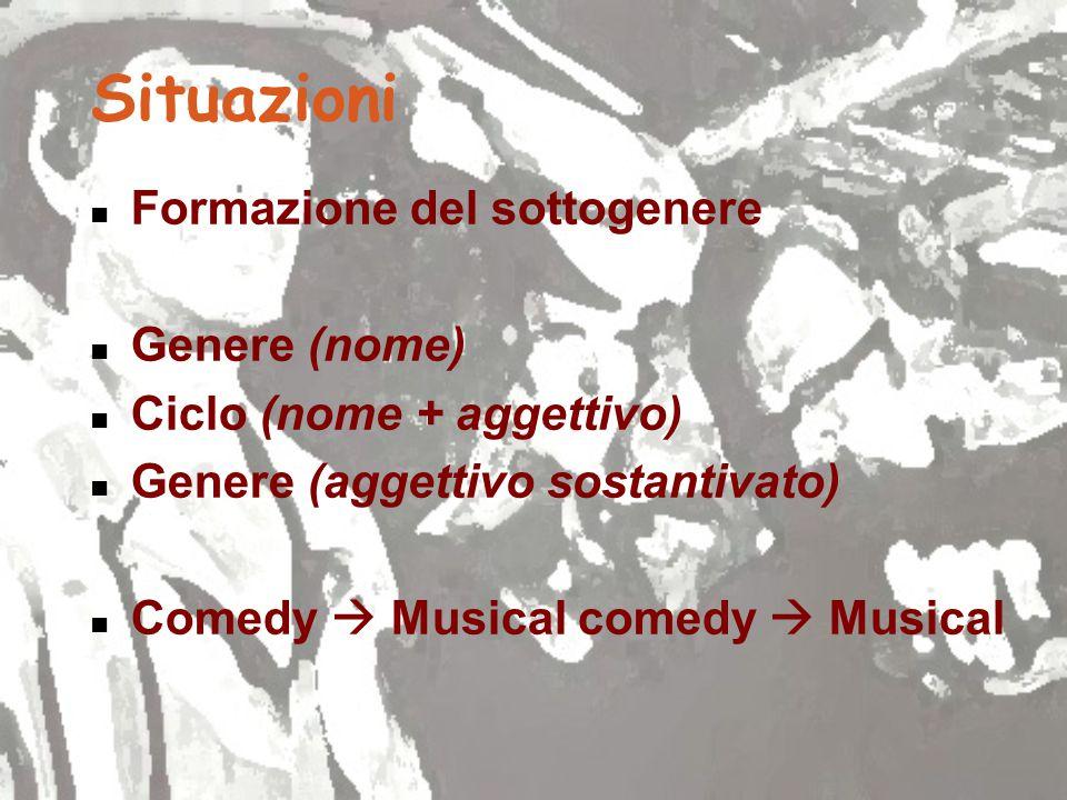 Situazioni Formazione del sottogenere Genere (nome) Ciclo (nome + aggettivo) Genere (aggettivo sostantivato) Comedy  Musical comedy  Musical
