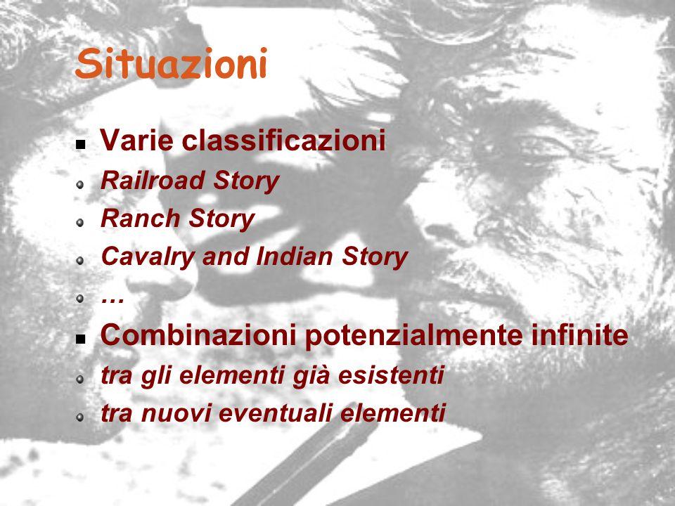 Situazioni Varie classificazioni Railroad Story Ranch Story Cavalry and Indian Story … Combinazioni potenzialmente infinite tra gli elementi già esist