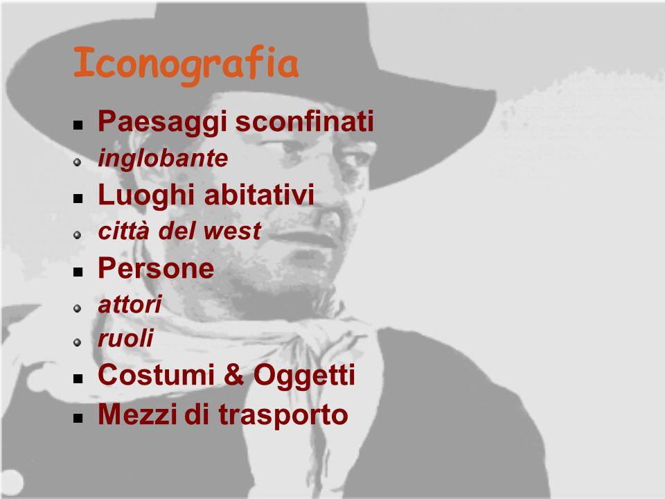 Iconografia Paesaggi sconfinati inglobante Luoghi abitativi città del west Persone attori ruoli Costumi & Oggetti Mezzi di trasporto