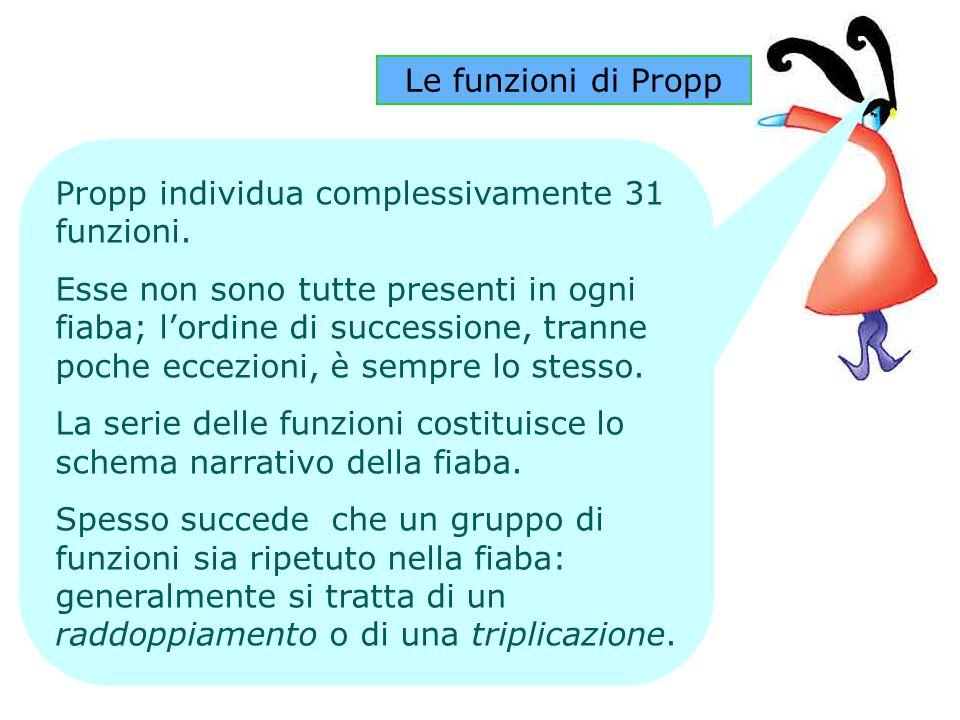 Le funzioni di Propp Propp individua complessivamente 31 funzioni. Esse non sono tutte presenti in ogni fiaba; l'ordine di successione, tranne poche e
