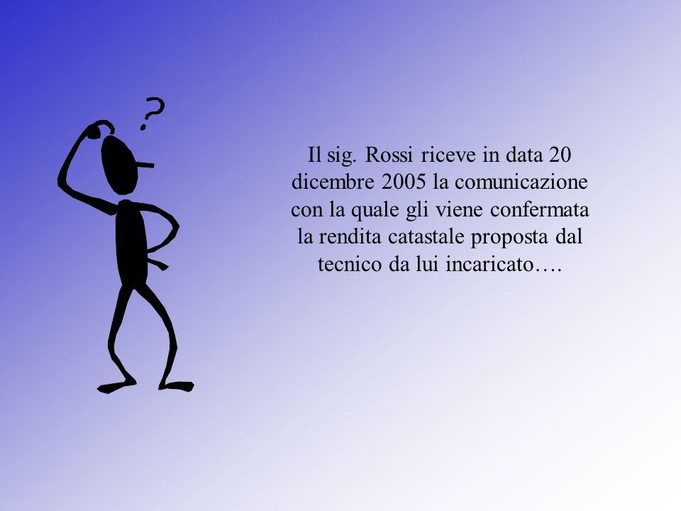 Il sig. Rossi riceve in data 20 dicembre 2005 la comunicazione con la quale gli viene confermata la rendita catastale proposta dal tecnico da lui inca