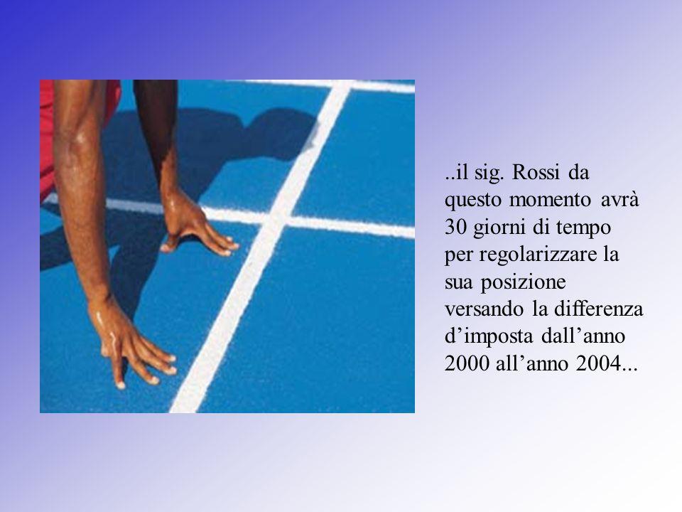 ..il sig. Rossi da questo momento avrà 30 giorni di tempo per regolarizzare la sua posizione versando la differenza d'imposta dall'anno 2000 all'anno