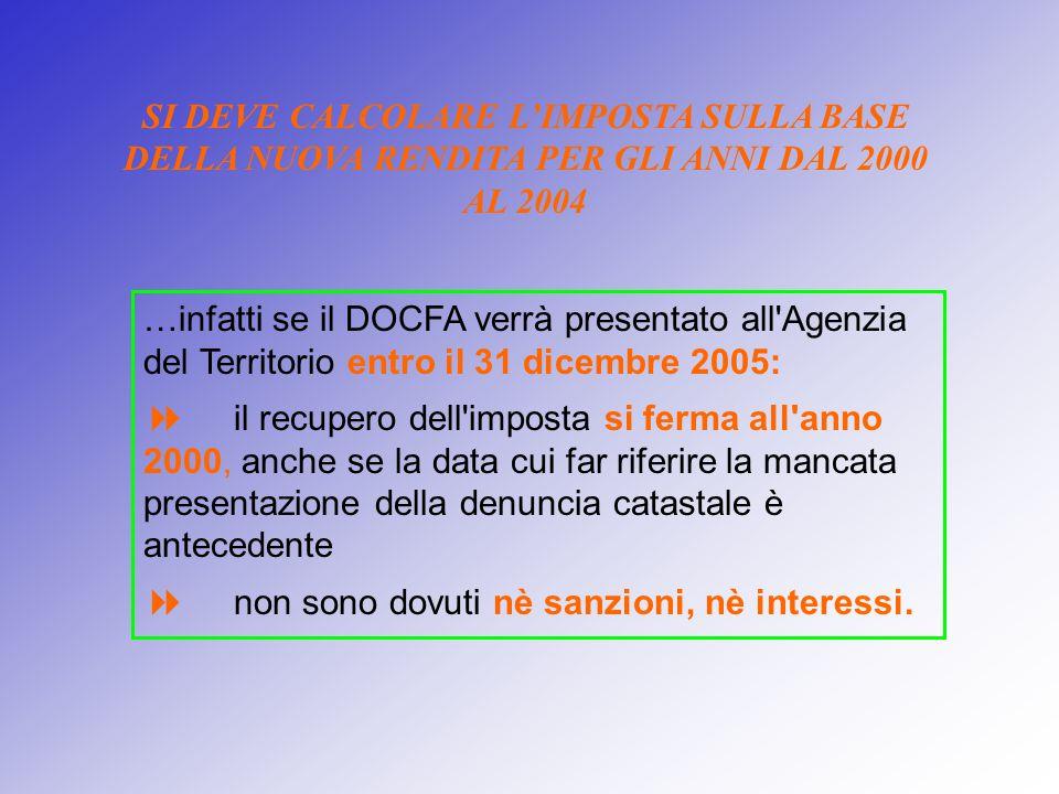 SI DEVE CALCOLARE L'IMPOSTA SULLA BASE DELLA NUOVA RENDITA PER GLI ANNI DAL 2000 AL 2004 …infatti se il DOCFA verrà presentato all'Agenzia del Territo