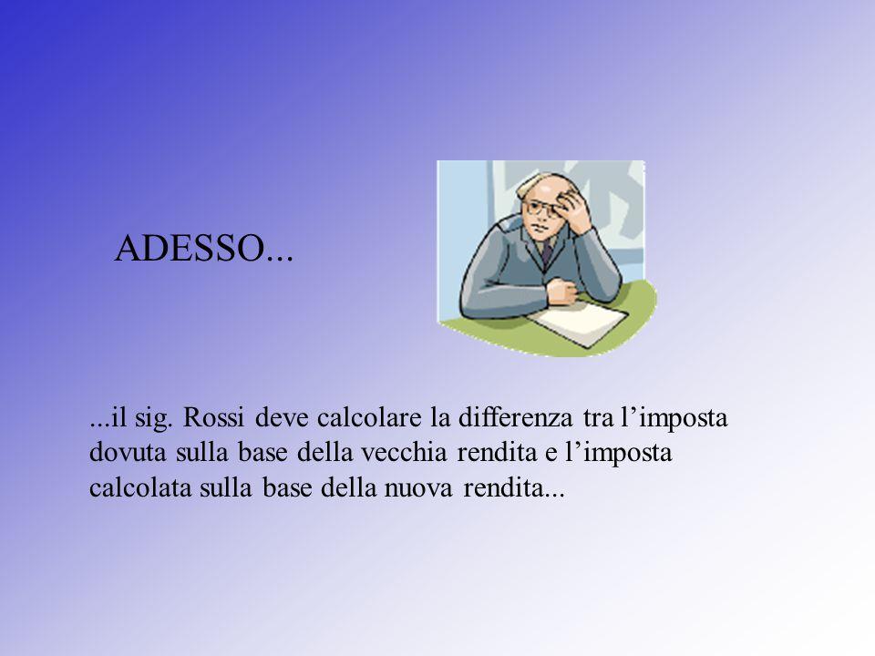...il sig. Rossi deve calcolare la differenza tra l'imposta dovuta sulla base della vecchia rendita e l'imposta calcolata sulla base della nuova rendi