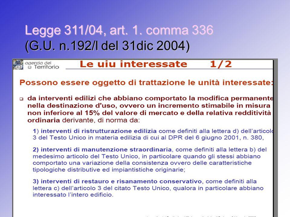 Legge 311/04, art. 1. comma 336 (G.U. n.192/l del 31dic 2004)