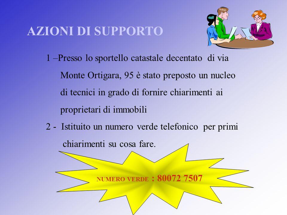 AZIONI DI SUPPORTO 1 –Presso lo sportello catastale decentato di via Monte Ortigara, 95 è stato preposto un nucleo di tecnici in grado di fornire chia