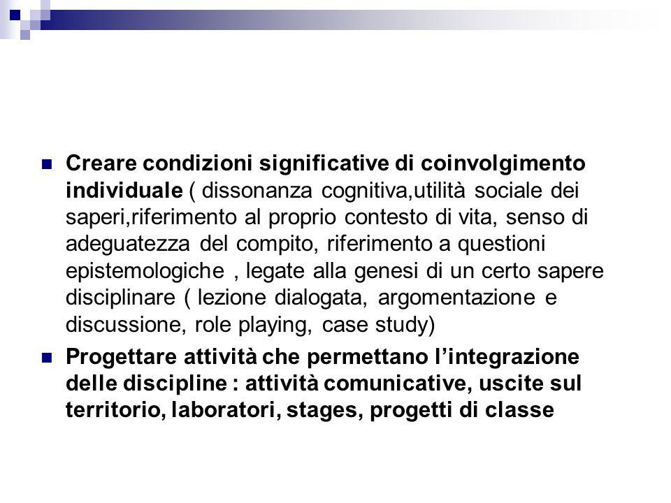 Creare condizioni significative di coinvolgimento individuale ( dissonanza cognitiva,utilità sociale dei saperi,riferimento al proprio contesto di vit