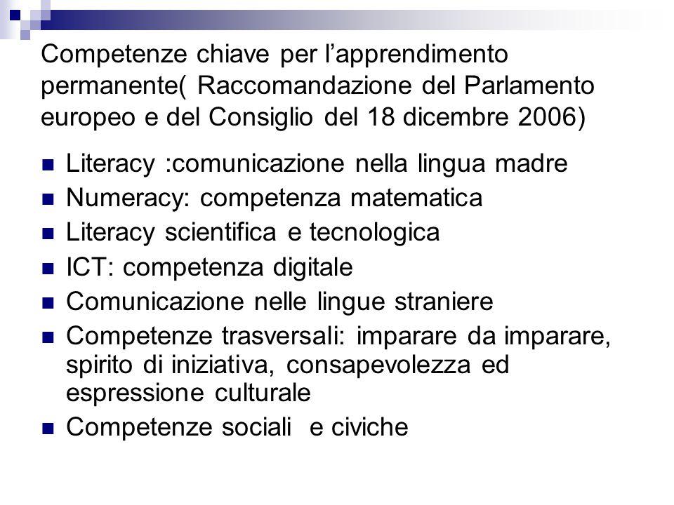 Competenze chiave per l'apprendimento permanente( Raccomandazione del Parlamento europeo e del Consiglio del 18 dicembre 2006) Literacy :comunicazione