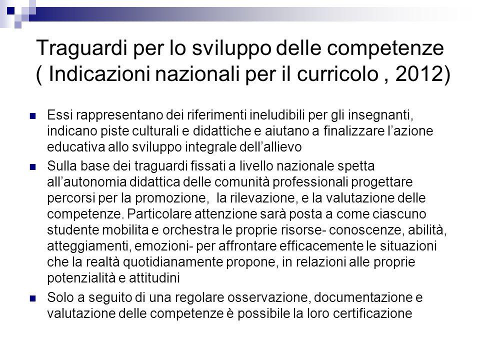Traguardi per lo sviluppo delle competenze ( Indicazioni nazionali per il curricolo, 2012) Essi rappresentano dei riferimenti ineludibili per gli inse