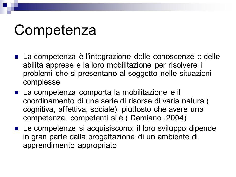 Competenza La competenza è l'integrazione delle conoscenze e delle abilità apprese e la loro mobilitazione per risolvere i problemi che si presentano