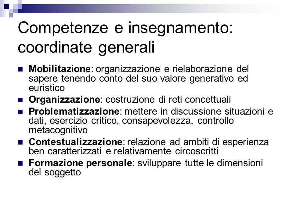 Competenze e insegnamento: coordinate generali Mobilitazione: organizzazione e rielaborazione del sapere tenendo conto del suo valore generativo ed eu