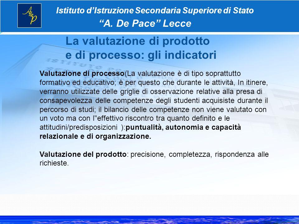 La valutazione di prodotto e di processo: gli indicatori Istituto d'Istruzione Secondaria Superiore di Stato A.