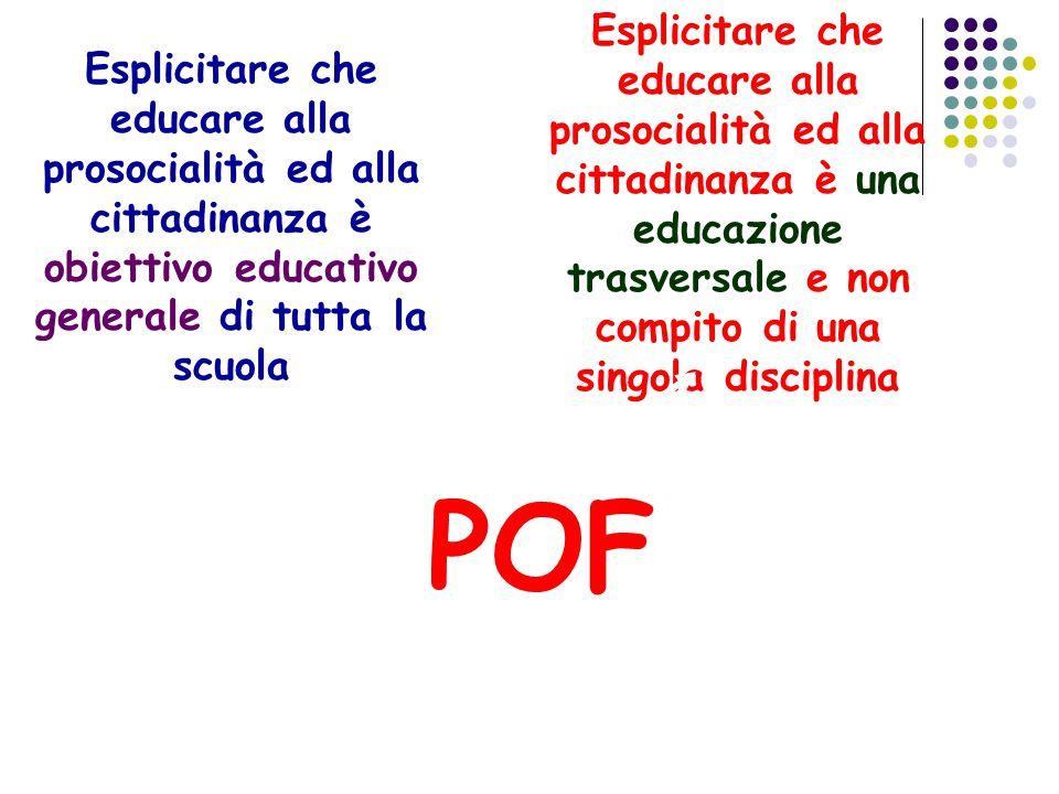 POF Esplicitare che educare alla prosocialità ed alla cittadinanza è obiettivo educativo generale di tutta la scuola Esplicitare che educare alla pros