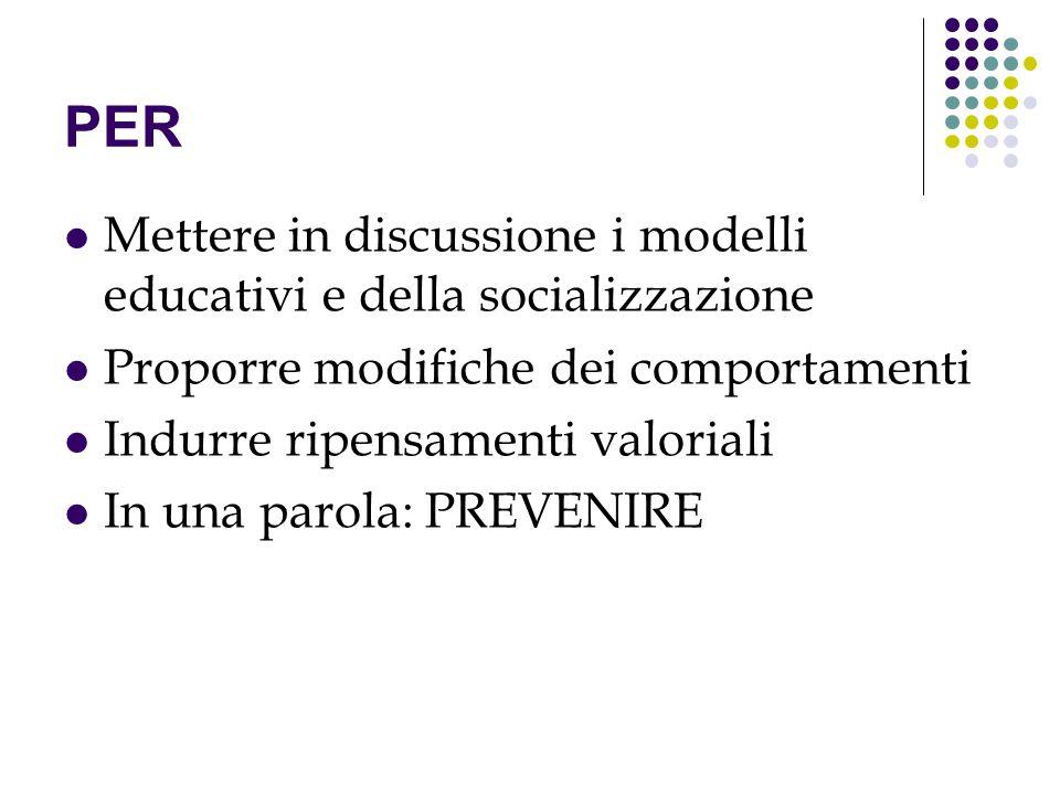 PER Mettere in discussione i modelli educativi e della socializzazione Proporre modifiche dei comportamenti Indurre ripensamenti valoriali In una paro