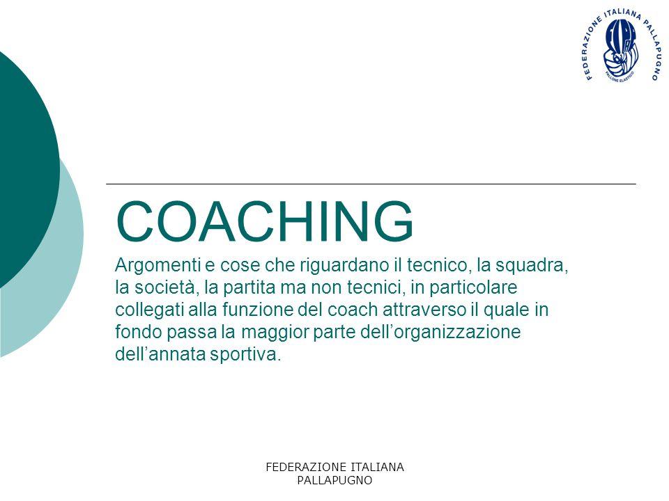 FEDERAZIONE ITALIANA PALLAPUGNO COACHING Argomenti e cose che riguardano il tecnico, la squadra, la società, la partita ma non tecnici, in particolare