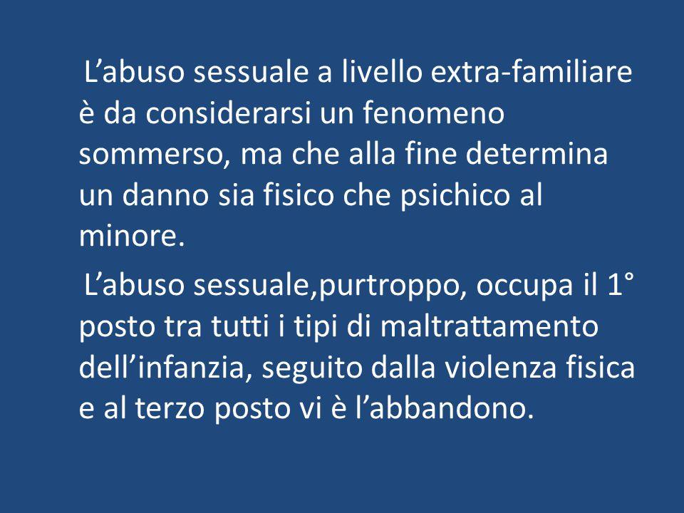 L'abuso sessuale a livello extra-familiare è da considerarsi un fenomeno sommerso, ma che alla fine determina un danno sia fisico che psichico al minore.