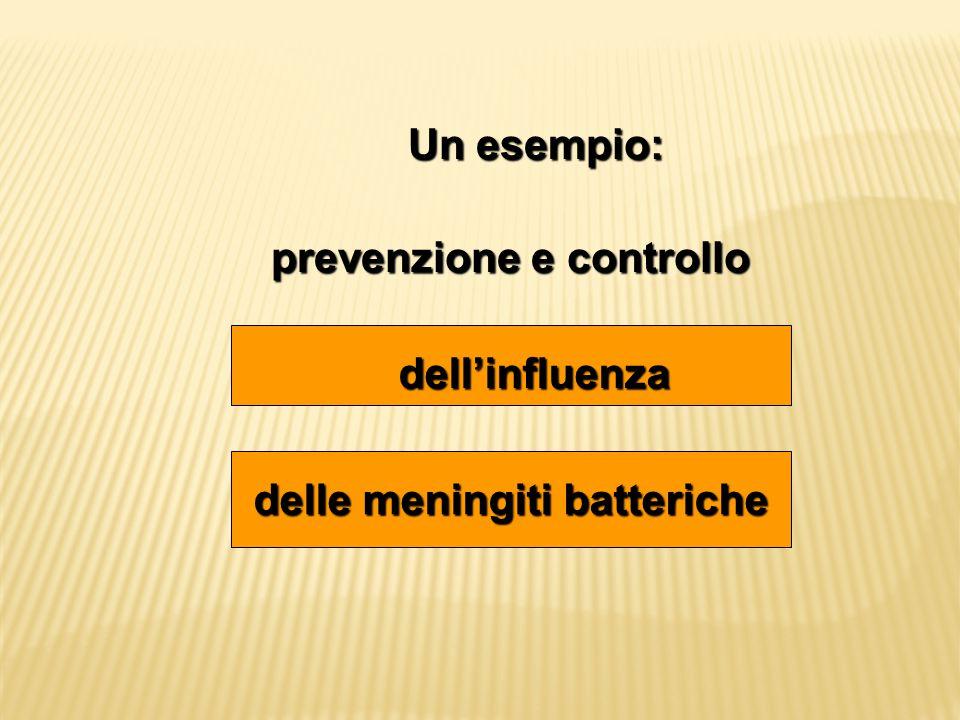 Un esempio: Un esempio: prevenzione e controllo delle meningiti batteriche dell'influenza