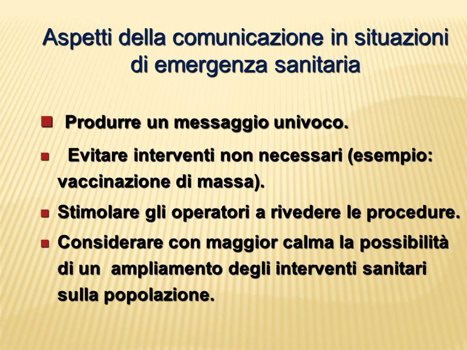 Aspetti della comunicazione in situazioni di emergenza sanitaria Produrre un messaggio univoco. Produrre un messaggio univoco. Evitare interventi non