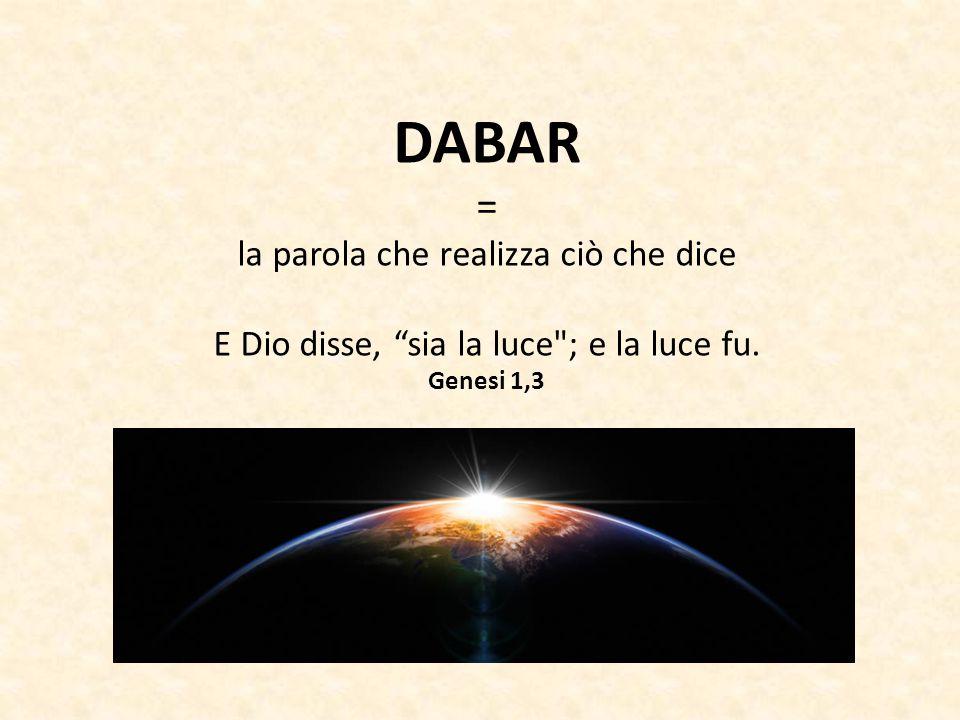 """DABAR = la parola che realizza ciò che dice E Dio disse, """"sia la luce"""