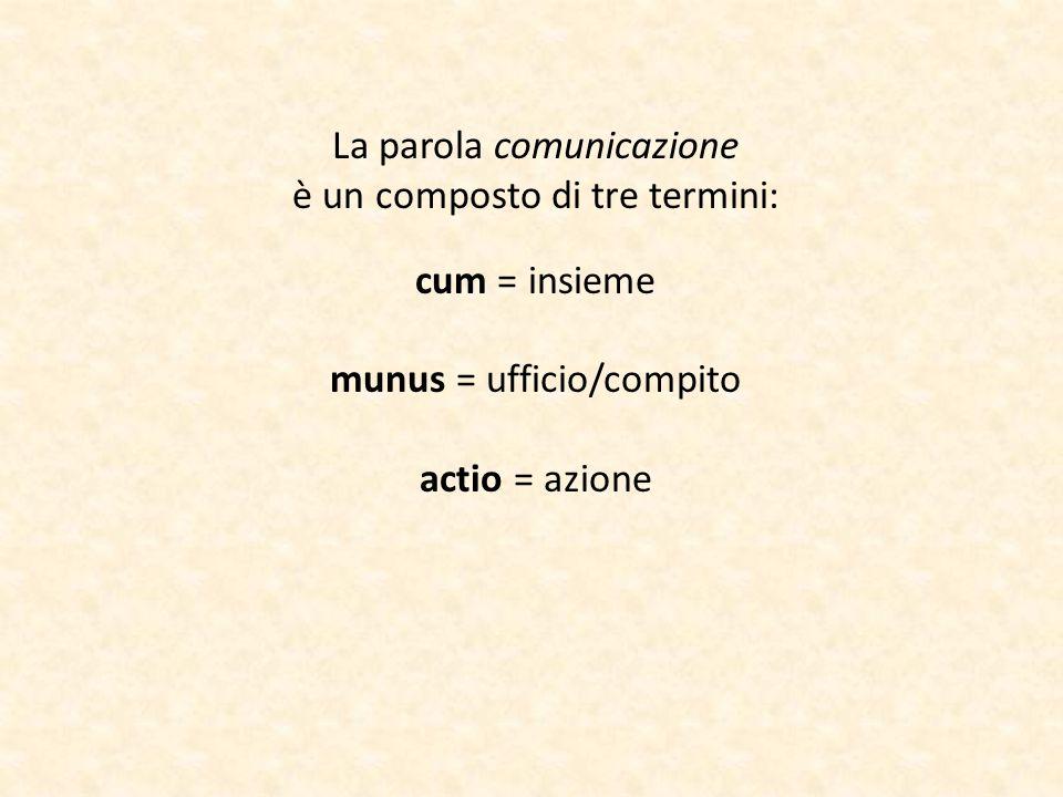 La parola comunicazione è un composto di tre termini: cum = insieme munus = ufficio/compito actio = azione