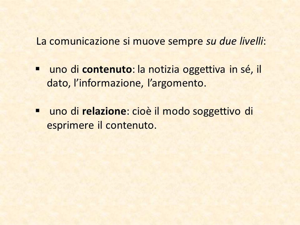 La comunicazione si muove sempre su due livelli:  uno di contenuto: la notizia oggettiva in sé, il dato, l'informazione, l'argomento.  uno di relazi