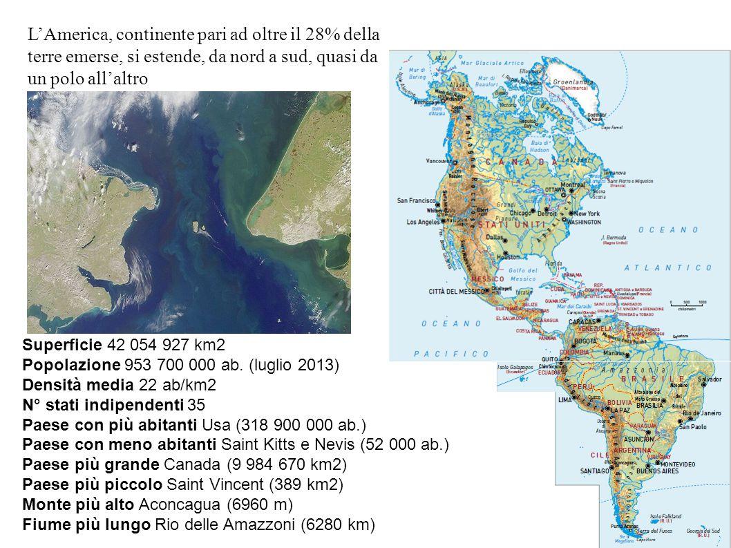 Superficie 42 054 927 km2 Popolazione 953 700 000 ab. (luglio 2013) Densità media 22 ab/km2 N° stati indipendenti 35 Paese con più abitanti Usa (318 9