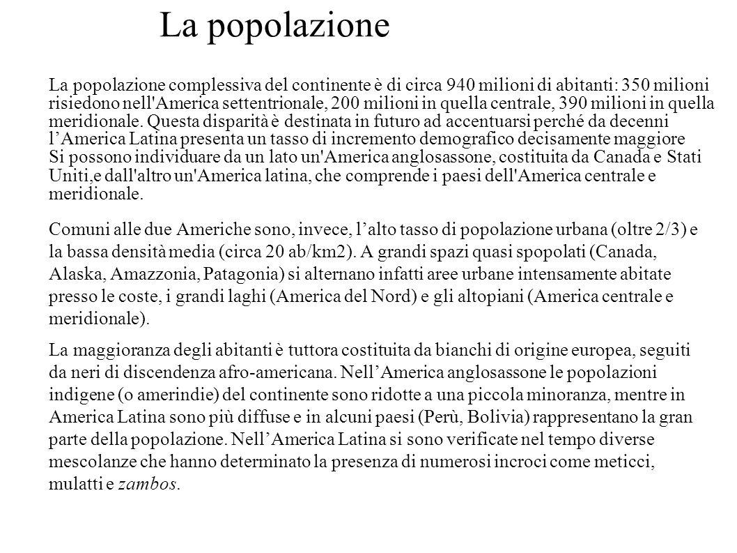 La popolazione La popolazione complessiva del continente è di circa 940 milioni di abitanti: 350 milioni risiedono nell'America settentrionale, 200 mi