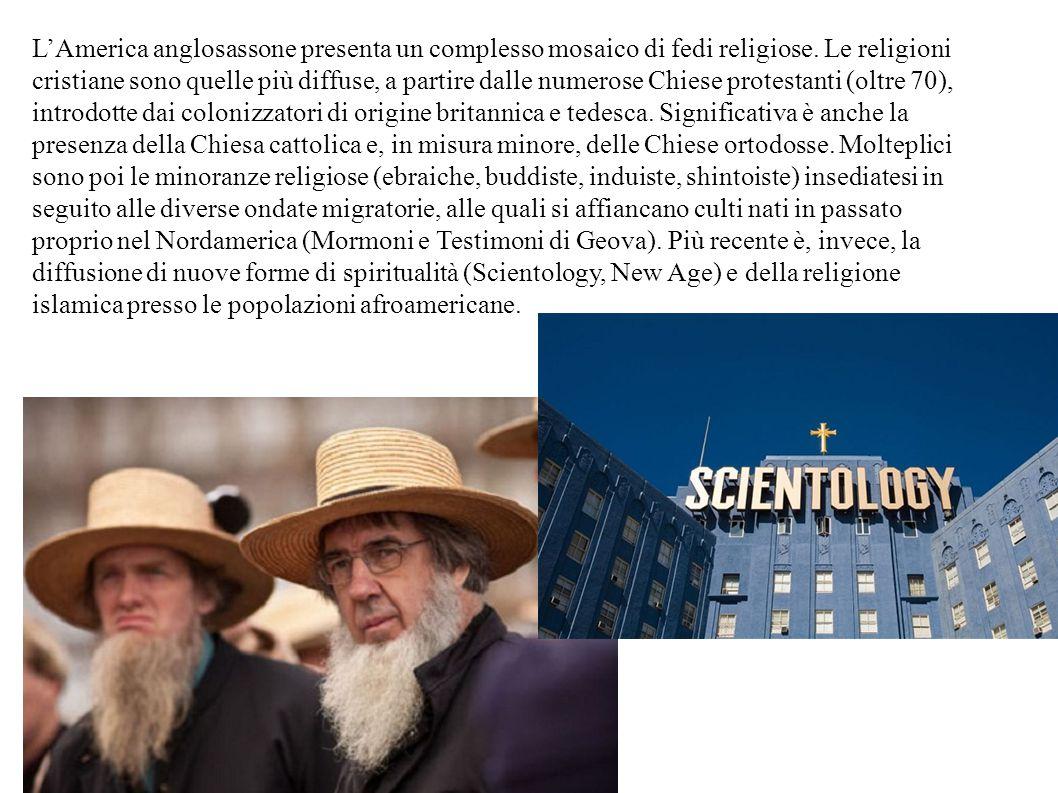 L'America anglosassone presenta un complesso mosaico di fedi religiose. Le religioni cristiane sono quelle più diffuse, a partire dalle numerose Chies