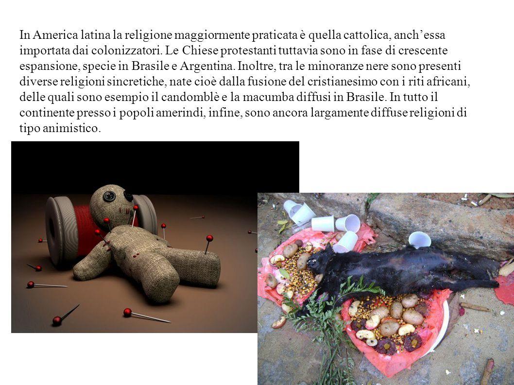 In America latina la religione maggiormente praticata è quella cattolica, anch'essa importata dai colonizzatori. Le Chiese protestanti tuttavia sono i