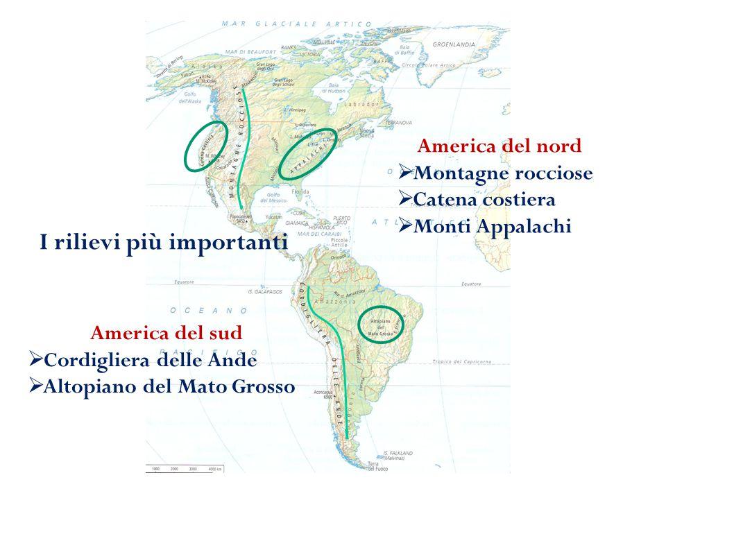 I rilievi più importanti America del nord  Montagne rocciose  Catena costiera  Monti Appalachi America del sud  Cordigliera delle Ande  Altopiano