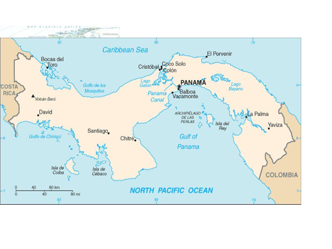 Il Canale di Panama  Attraversa l' istmo di Panama.  Lungo 81,1 km, unisce l'Oceano Atlantico con il Pacifico.  È costituito da un sistema di chius