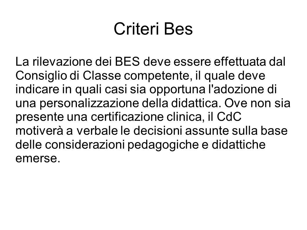 Criteri Bes La rilevazione dei BES deve essere effettuata dal Consiglio di Classe competente, il quale deve indicare in quali casi sia opportuna l adozione di una personalizzazione della didattica.