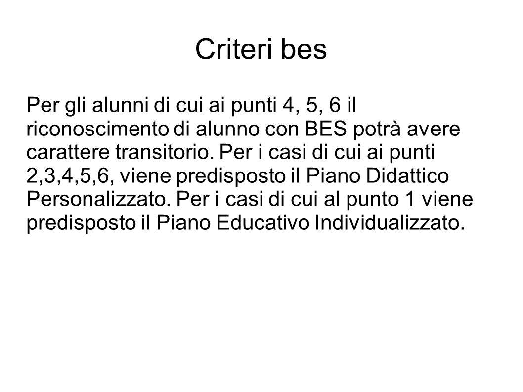 Criteri bes Per gli alunni di cui ai punti 4, 5, 6 il riconoscimento di alunno con BES potrà avere carattere transitorio.