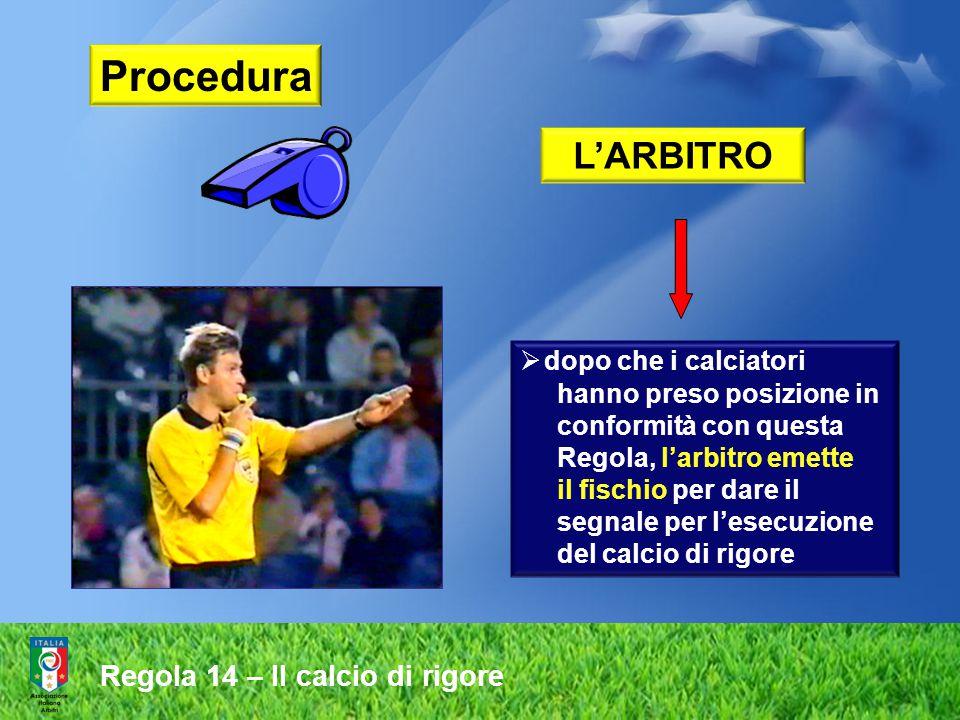 Procedura L'ARBITRO  dopo che i calciatori hanno preso posizione in conformità con questa Regola, l'arbitro emette il fischio per dare il segnale per