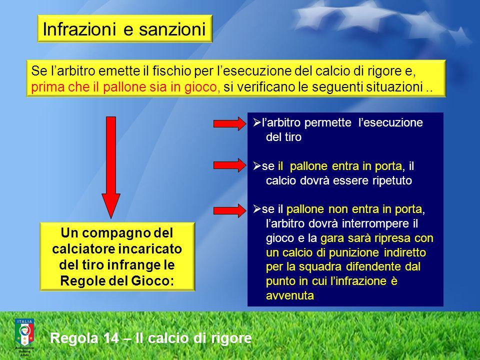 Infrazioni e sanzioni Se l'arbitro emette il fischio per l'esecuzione del calcio di rigore e, prima che il pallone sia in gioco, si verificano le segu